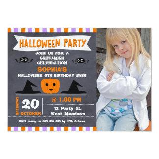 Halloween Chalkboard Photo Birthday Invitation