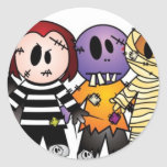 Halloween Characters Round Sticker