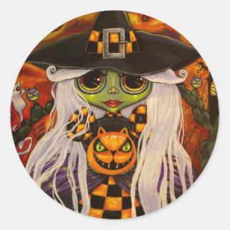 Halloween Checkerboard Witch Sticker