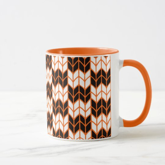 Halloween Checks Orange Ringer Mug