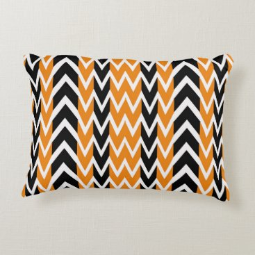 Halloween Themed Halloween Chevron Curves Decorative Pillow