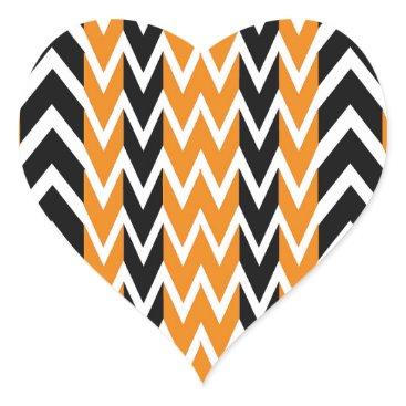 Halloween Themed Halloween Chevron Curves Heart Sticker
