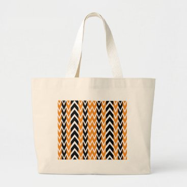 Halloween Themed Halloween Chevron Curves Large Tote Bag