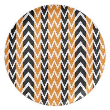 Halloween Themed Halloween Chevron Curves Melamine Plate
