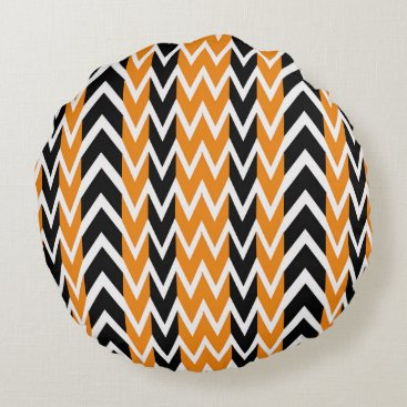 Halloween Themed Halloween Chevron Curves Round Pillow