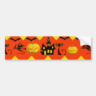 Halloween Chevron Haunted House Black Cat Pattern Bumper Sticker