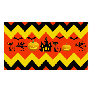 Halloween Chevron Haunted House Black Cat Pattern Business Card Template