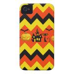 Halloween Chevron Haunted House Black Cat Pattern Case-Mate iPhone 4 Cases