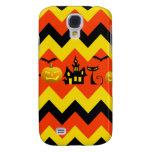 Halloween Chevron Haunted House Black Cat Pattern Galaxy S4 Case