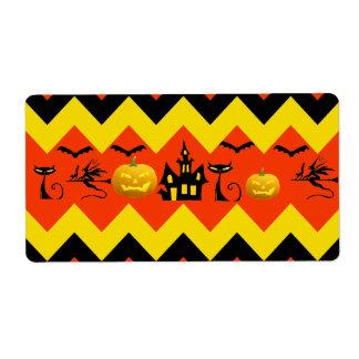 Halloween Chevron Haunted House Black Cat Pattern Label