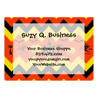 Halloween Chevron Haunted House Black Cat Pattern Large Business Cards (Pack Of 100)