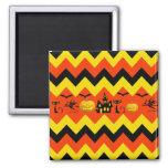 Halloween Chevron Haunted House Black Cat Pattern Fridge Magnets