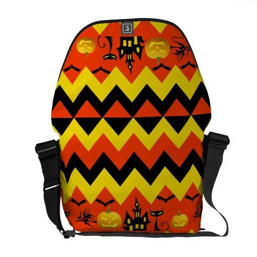 Halloween Chevron Haunted House Black Cat Pattern Messenger Bags