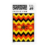 Halloween Chevron Haunted House Black Cat Pattern Stamps