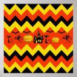 Halloween Chevron Haunted House Black Cat Pattern Print