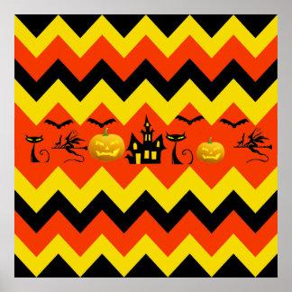 Halloween Chevron Haunted House Black Cat Pattern Poster