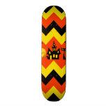 Halloween Chevron Haunted House Black Cat Pattern Skate Deck