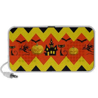 Halloween Chevron Haunted House Black Cat Pattern Travelling Speaker