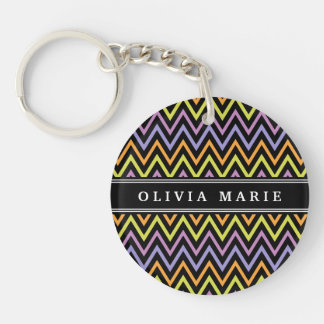 Halloween Chevron Pattern and Name Key Chains