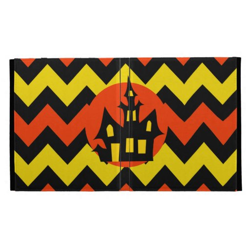 Halloween Chevron Spooky Haunted House Design iPad Folio Cover