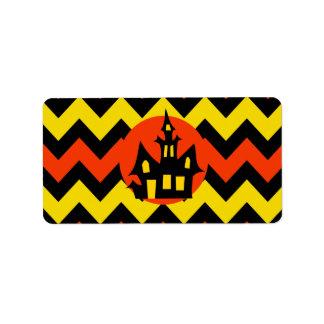 Halloween Chevron Spooky Haunted House Design Label