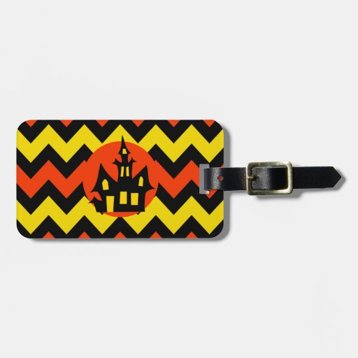 Halloween Chevron Spooky Haunted House Design Tag For Luggage