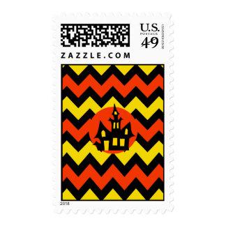 Halloween Chevron Spooky Haunted House Design Stamp