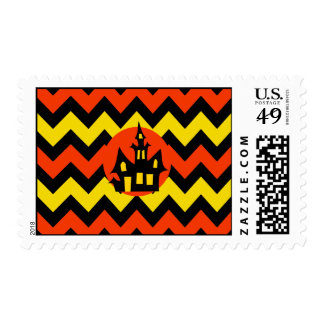 Halloween Chevron Spooky Haunted House Design Postage Stamp