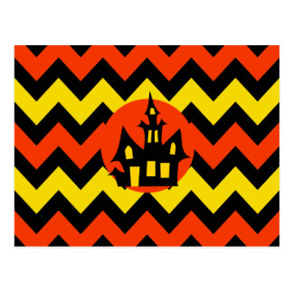 Halloween Chevron Spooky Haunted House Design Postcard