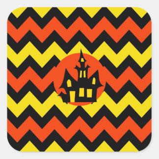 Halloween Chevron Spooky Haunted House Design Sticker