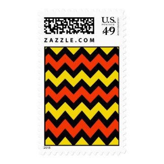 Halloween Chevron Striped Pattern Black Orange Postage