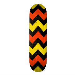Halloween Chevron Striped Pattern Black Orange Skate Board Decks