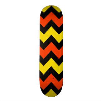 Halloween Chevron Striped Pattern Black Orange Skateboard