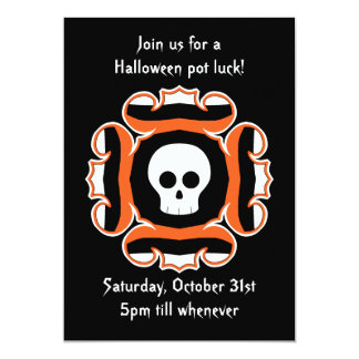 Halloween chic skull party card
