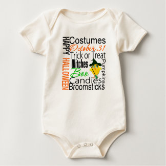 Halloween Chick Text Collage Baby Creeper