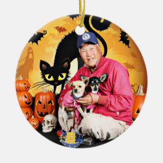 Halloween - chihuahua - bebé y Hopey Adorno De Navidad