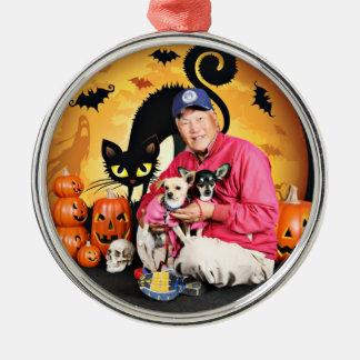 Halloween - chihuahua - bebé y Hopey Ornamento De Reyes Magos