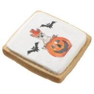 Halloween Chihuahua dog Square Premium Shortbread Cookie