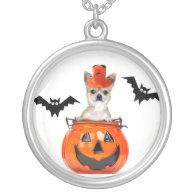 Halloween chihuahua dog round pendant necklace