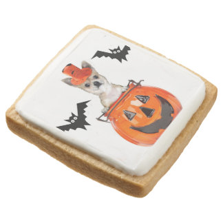 Halloween chihuahua dog square shortbread cookie