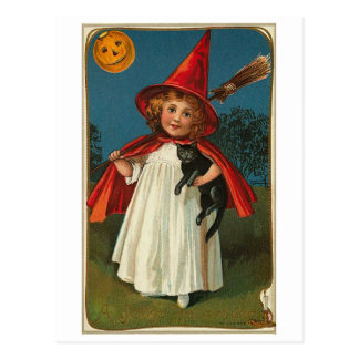 Halloween Child and Black Cat Postcard