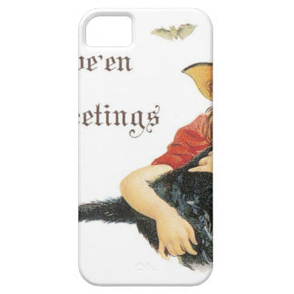 Halloween Child Witch with Black Cat iPhone 5 Cases