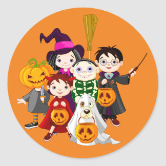 Halloween children trick or treating classic round sticker