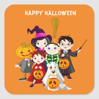 Halloween children trick or treating square sticker