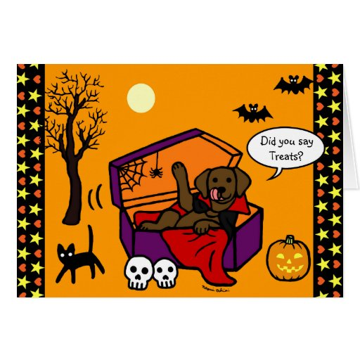 Halloween Chocolate Lab Vampire Card