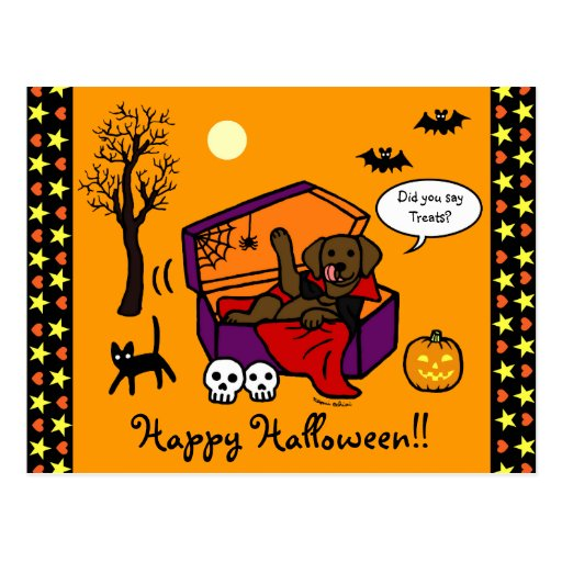 Halloween Chocolate Lab Vampire Postcard