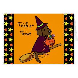 Halloween Chocolate Labrador Cartoon 1 Card