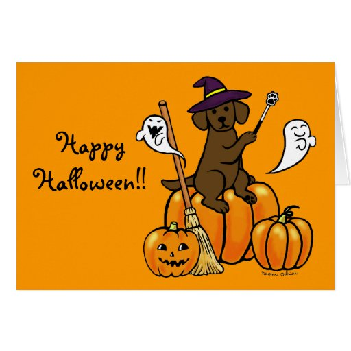 Halloween Chocolate Labrador Cartoon 2 Card