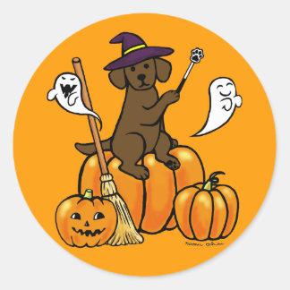 Halloween Chocolate Labrador Cartoon 2 Classic Round Sticker