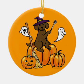 Halloween Chocolate Labrador Cartoon 2 Double-Sided Ceramic Round Christmas Ornament